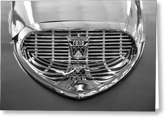 Greeting Card featuring the digital art 1958 Ford Fairlane Sunliner Intake Bw by Chris Flees