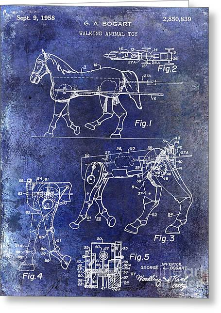 1958 Horse Toy Patent Blue Greeting Card by Jon Neidert