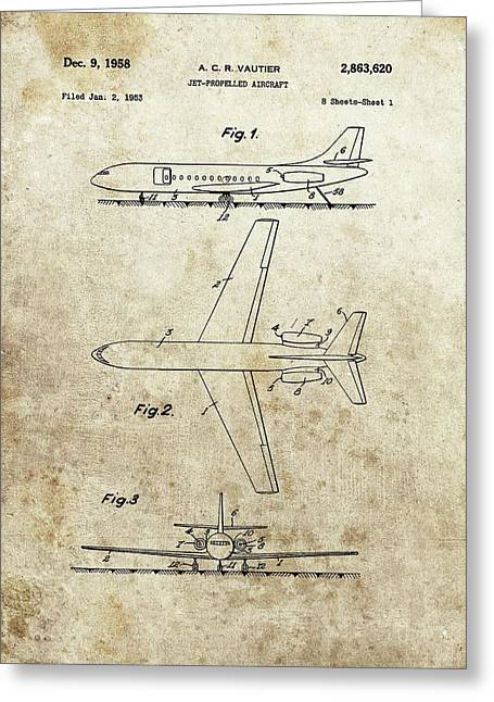 1958 Jet Airplane Patent Greeting Card by Dan Sproul