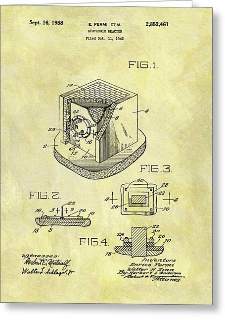 1958 Neutronic Reactor Patent Greeting Card by Dan Sproul