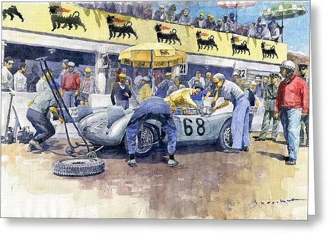1958 Targa Florio Porsche 718 Rsk Behra Scarlatti 2 Place Greeting Card by Yuriy Shevchuk