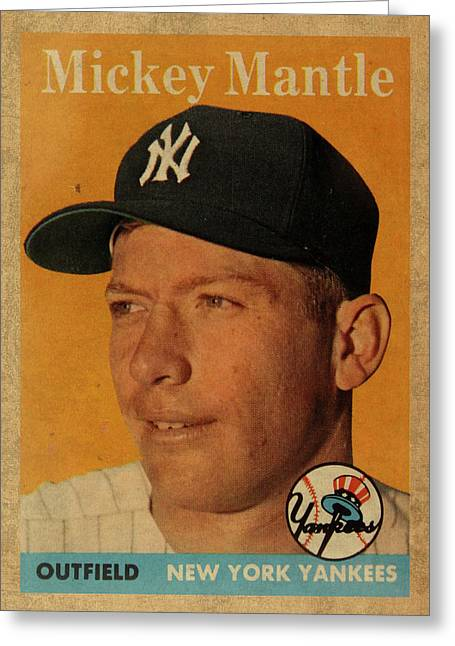 1958 Topps Baseball Mickey Mantle Card Vintage Poster Greeting Card