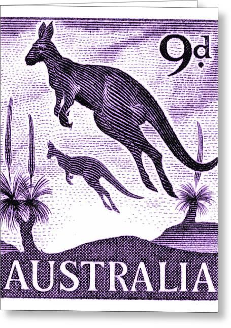 1959 Australia Kangaroo Postage Stamp Greeting Card
