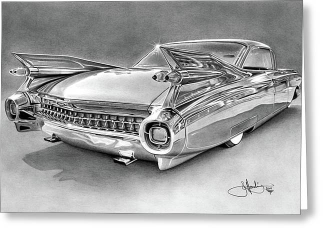 1959 Cadillac Drawing Greeting Card