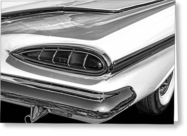 1959 Chevrolet Impala Black And White Greeting Card
