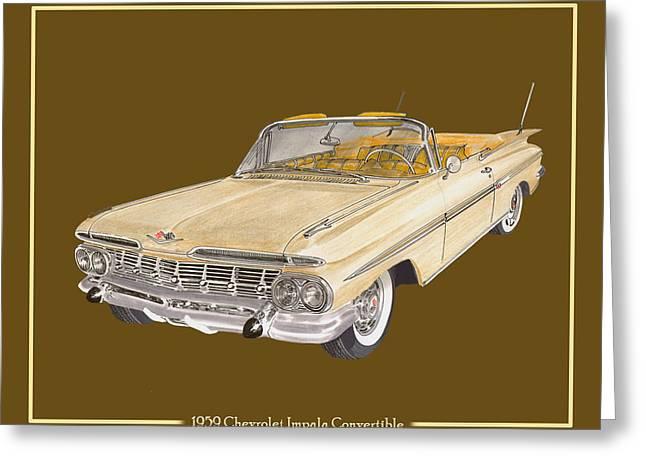1959 Chevrolet Impala Convertible Greeting Card by Jack Pumphrey