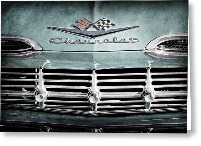 1959 Chevrolet Impala Grille Emblem -1014ac Greeting Card by Jill Reger