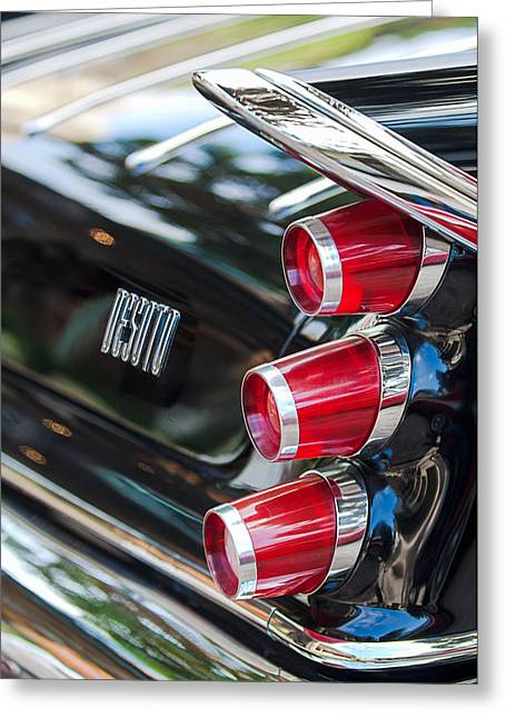 1959 Desoto Adventurer Hardtop Coupe 2-door Taillight Emblem Greeting Card by Jill Reger