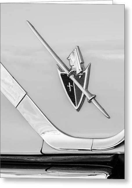 1959 Dodge Coronet Emblem -0885bw Greeting Card