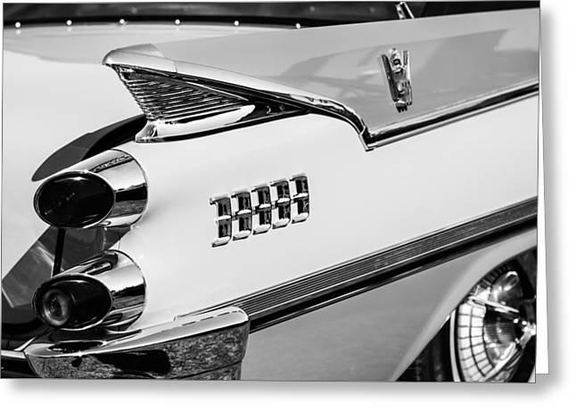1959 Dodge Coronet Tail Lights -0928bw Greeting Card