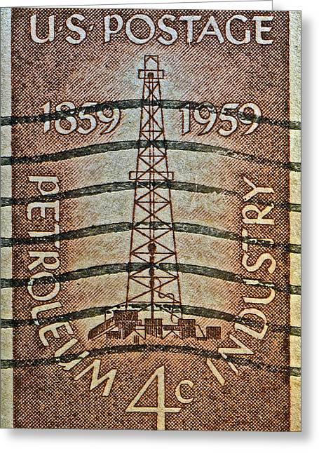 1959 First Oil Well Stamp Greeting Card
