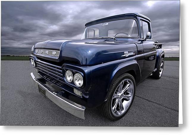 1959 Ford F100 Dark Blue Pickup Greeting Card by Gill Billington