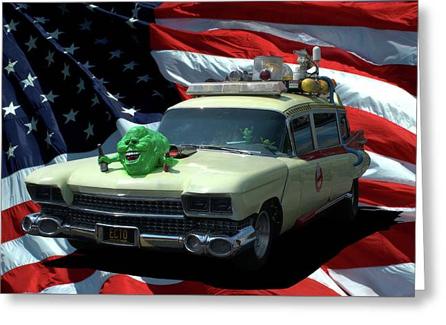 1959 Ghostbusters Cadillac Ambulance Greeting Card by Tim McCullough