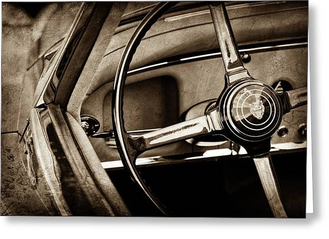 1959 Jaguar Xk150s Ots Steering Wheel Emblem -1813s Greeting Card