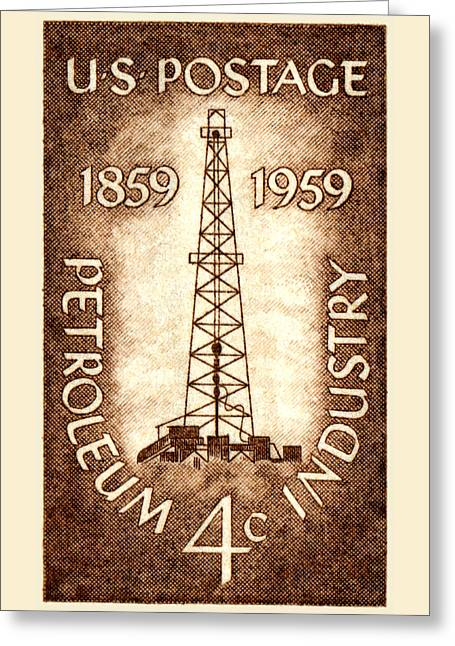 1959 Petroleum Industry Centennial Stamp Greeting Card by Historic Image
