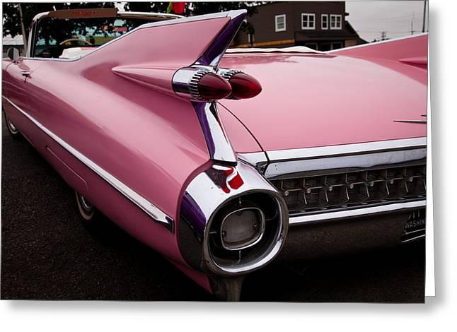 1959 Pink Cadillac Convertible Greeting Card