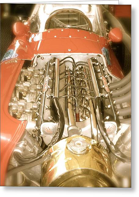 1959 Tecnia Meccanica Maserati 250f Engine Detail Greeting Card by John Colley