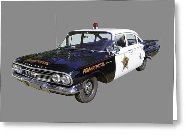 1960 Chevrolet Biscayne Police Car Greeting Card