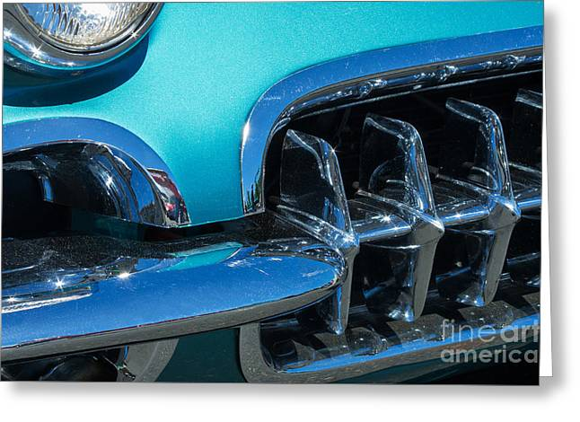 1960 Chevy Corvette Headlight And Grill Abstract Greeting Card