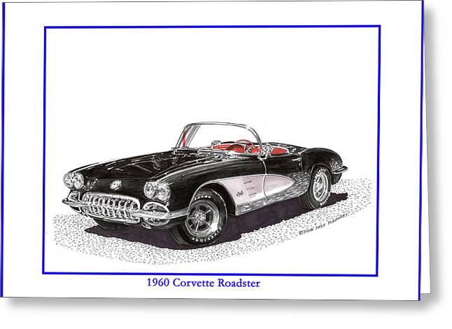 1960 Corvette Convertible Greeting Card by Jack Pumphrey