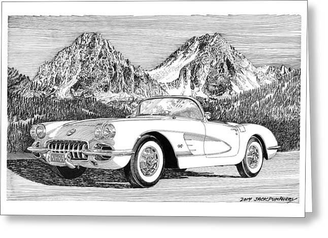 1960 Corvette Greeting Card by Jack Pumphrey