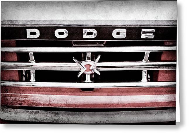1960 Dodge Truck Grille Emblem -0275ac Greeting Card