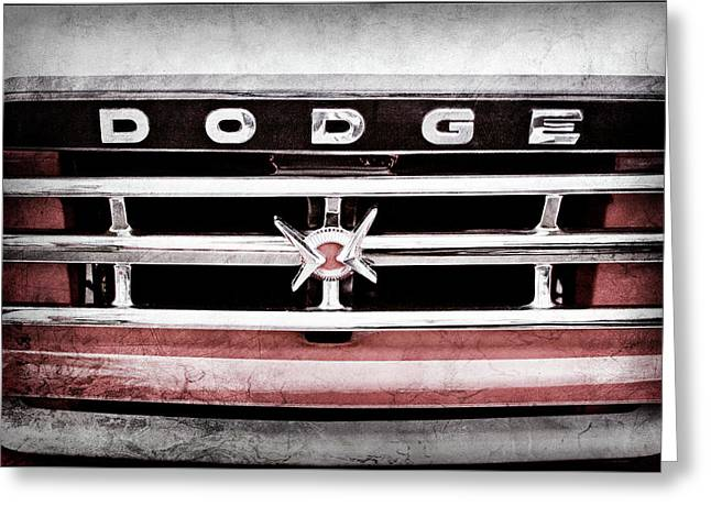 Greeting Card featuring the photograph 1960 Dodge Truck Grille Emblem -0275ac by Jill Reger