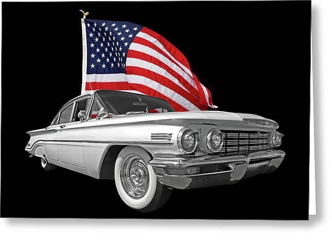 1960 Oldsmobile With Us Flag Greeting Card by Gill Billington