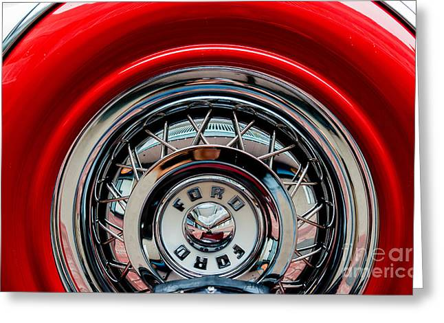 Greeting Card featuring the photograph 1958 Ford Crown Victoria Wheel by M G Whittingham