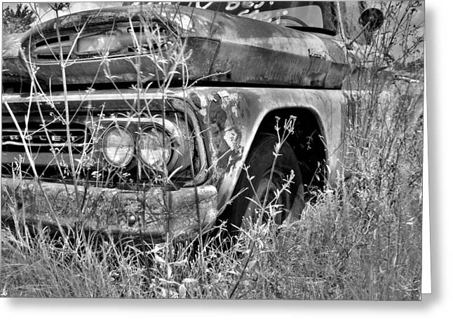1961 Chevrolet Apache 10 Black And White 4 Greeting Card