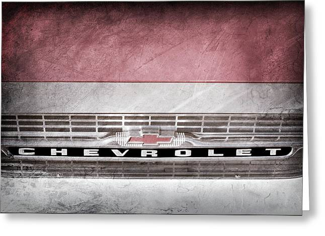 Greeting Card featuring the photograph 1961 Chevrolet Corvair Pickup Truck Grille Emblem -0130ac by Jill Reger