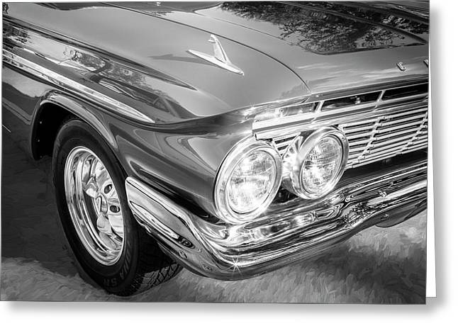 1961 Chevrolet Impala Ss Bw Greeting Card by Rich Franco