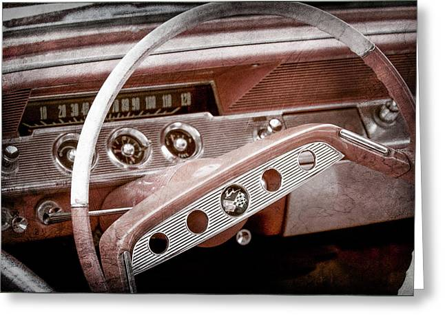 Greeting Card featuring the photograph 1961 Chevrolet Impala Ss Steering Wheel Emblem -1156ac by Jill Reger