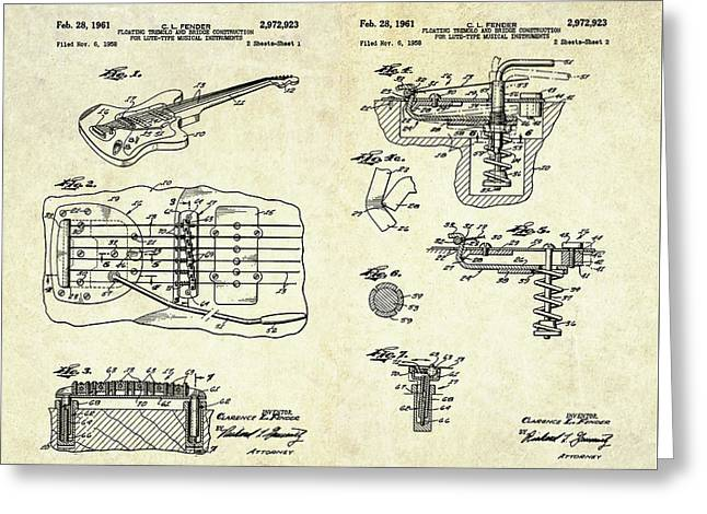 1961 Fender Tremolo Patent Art Sheets Greeting Card by Gary Bodnar