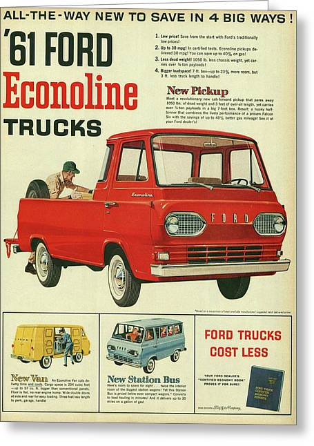 1961 Ford Econoline Vintage Ad Greeting Card