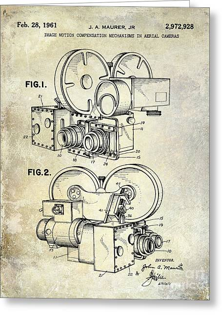 1961 Movie Camera Patent Greeting Card by Jon Neidert
