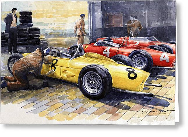 1961 Spa-francorchamps Ferrari Garage Ferrari 156 Sharknose  Greeting Card by Yuriy Shevchuk