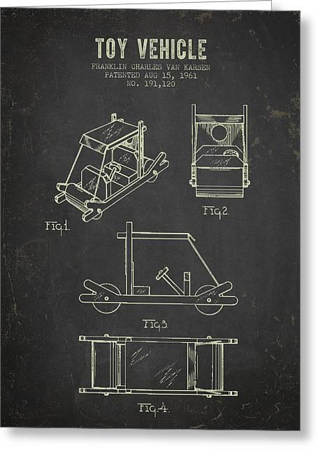 1961 Toy Vehicle Patent - Dark Grunge Greeting Card by Aged Pixel