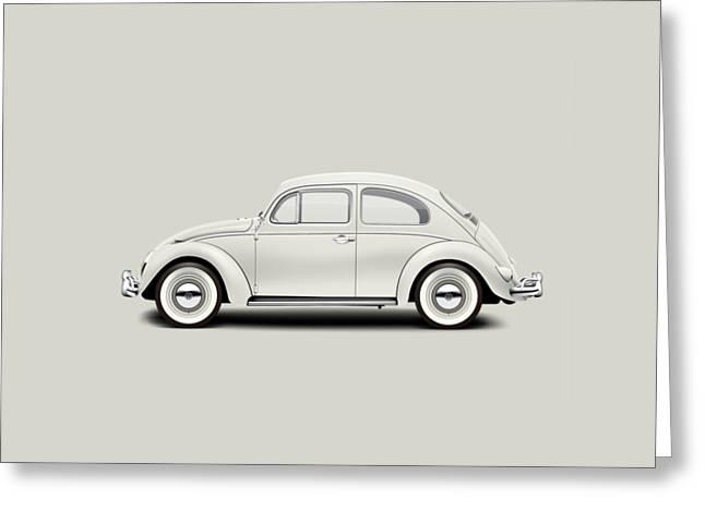 1961 Volkswagen Deluxe Sedan - Pearl White Greeting Card by Ed Jackson