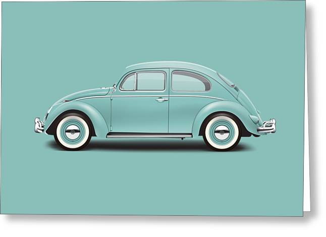 1961 Volkswagen Deluxe Sedan - Turquoise Greeting Card by Ed Jackson