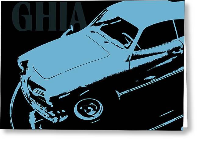 1962 Karmann Ghia Pop Art Blue Greeting Card