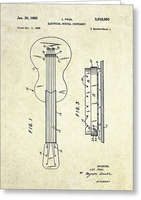 1962 Les Paul Magnetic Pick-up Patent Art Greeting Card by Gary Bodnar