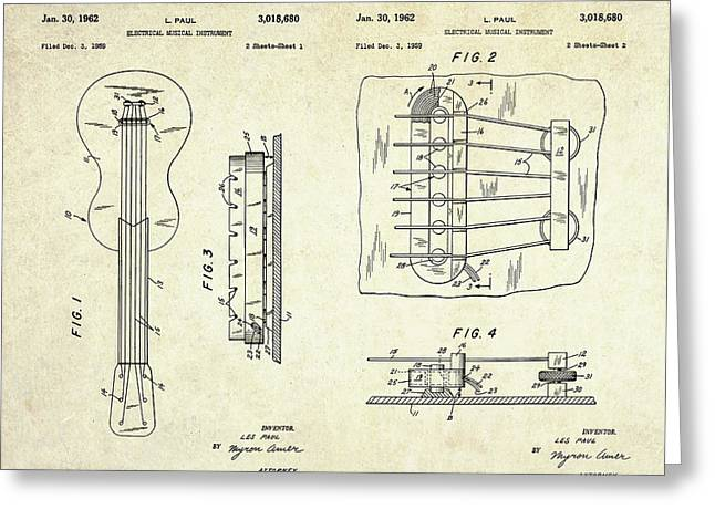 1962 Les Paul Magnetic Pick-up Patent Art Sheets Greeting Card by Gary Bodnar