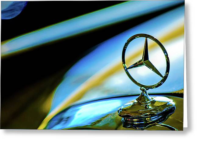 1962 Mercedes-benz 6.3 Liter 220se Cabriolet Hood Ornament Greeting Card by Jill Reger