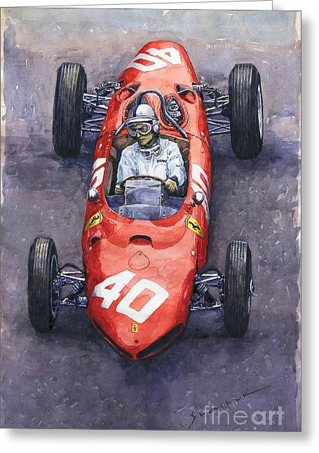 1962 Monaco Gp Willy Mairesse Ferrari 156 Sharknose Greeting Card