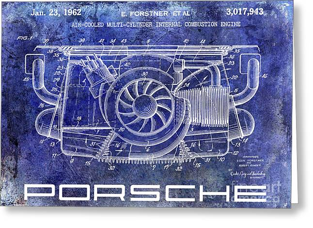 1962 Porsche Engine Patent Blue Greeting Card