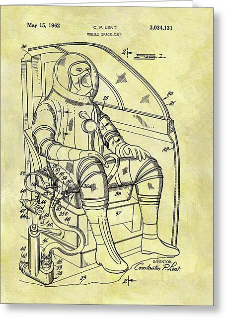 1962 Space Suit Patent Greeting Card by Dan Sproul