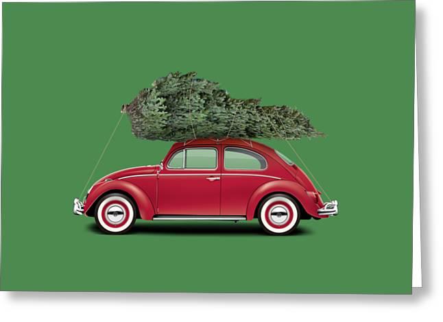 1962 Volkswagen Deluxe Sedan - Ruby Red W/ Christmas Tree Greeting Card by Ed Jackson