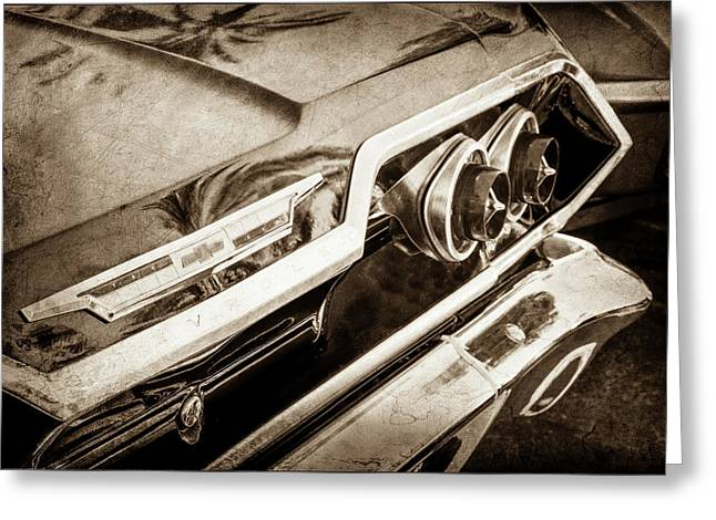 Greeting Card featuring the photograph 1963 Chevrolet Taillight Emblem -0183s by Jill Reger