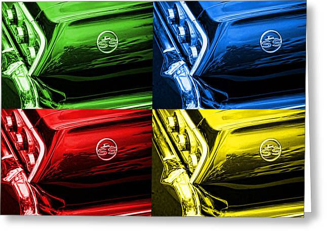 Dad Eyes Greeting Cards - 1963 Chevy Impala SS - Pop Art - Green Blue Red Yellow Greeting Card by Gordon Dean II